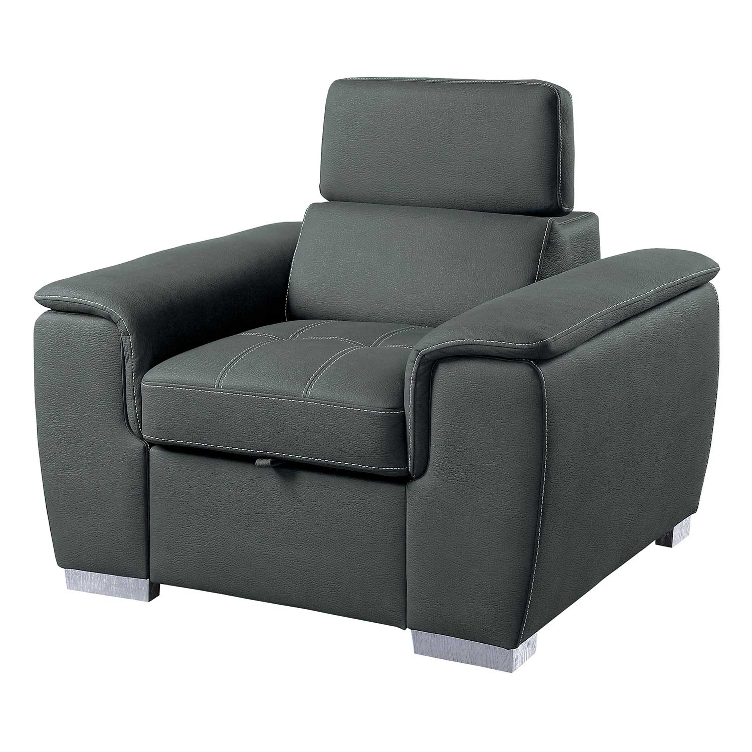 Homelegance Ferriday Chair with Pull-out Ottoman - Gray