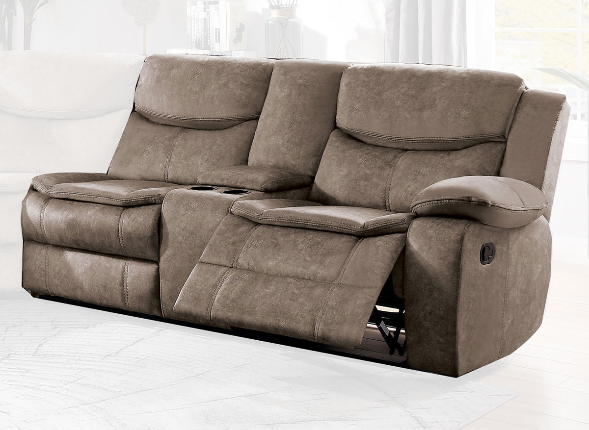 Homelegance Bastrop Right Side Double Reclining Love Seat with Center Console - Brown