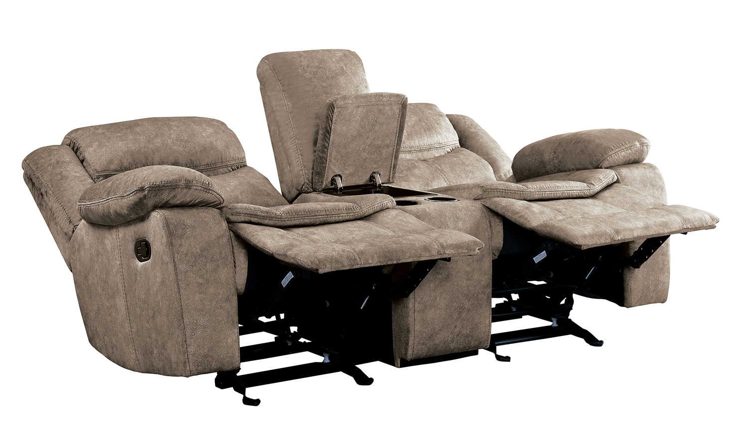 Homelegance Bastrop Double Glider Reclining Love Seat with Center Console - Brown