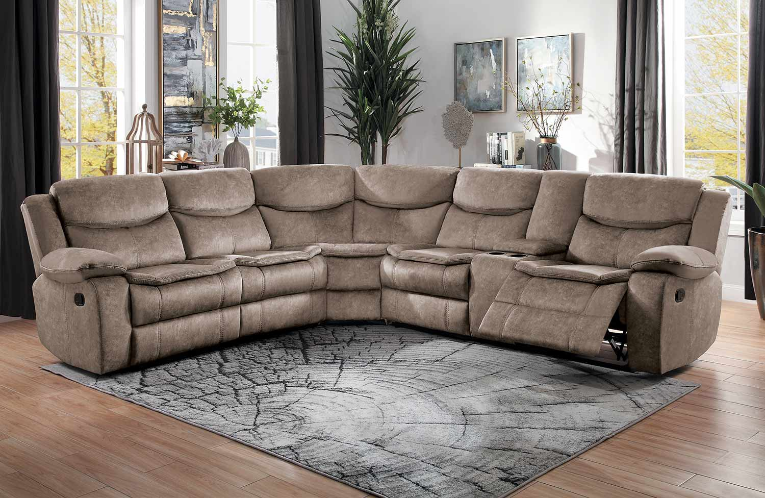 Homelegance Bastrop Reclining Sectional Sofa Set - Brown
