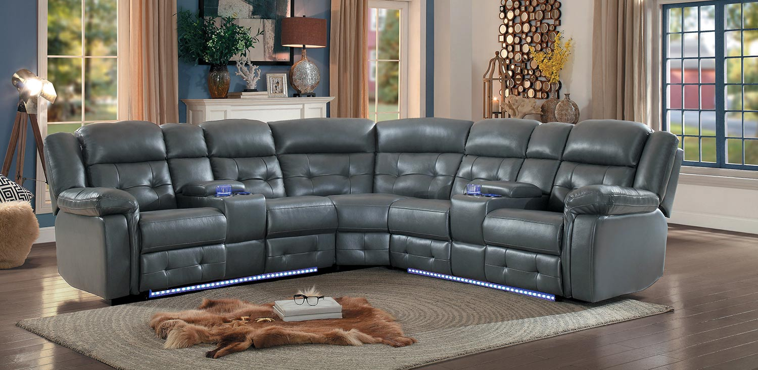 Homelegance Kalmar Power Sectional Sofa - Gray Leather