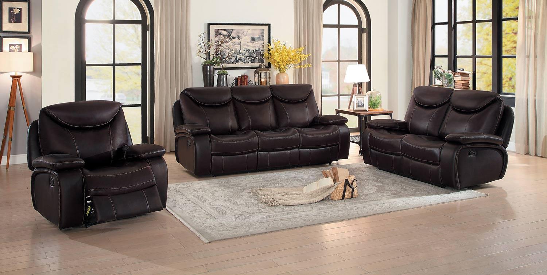 Homelegance Verkin Double Reclining Sofa Set - Dark Brown