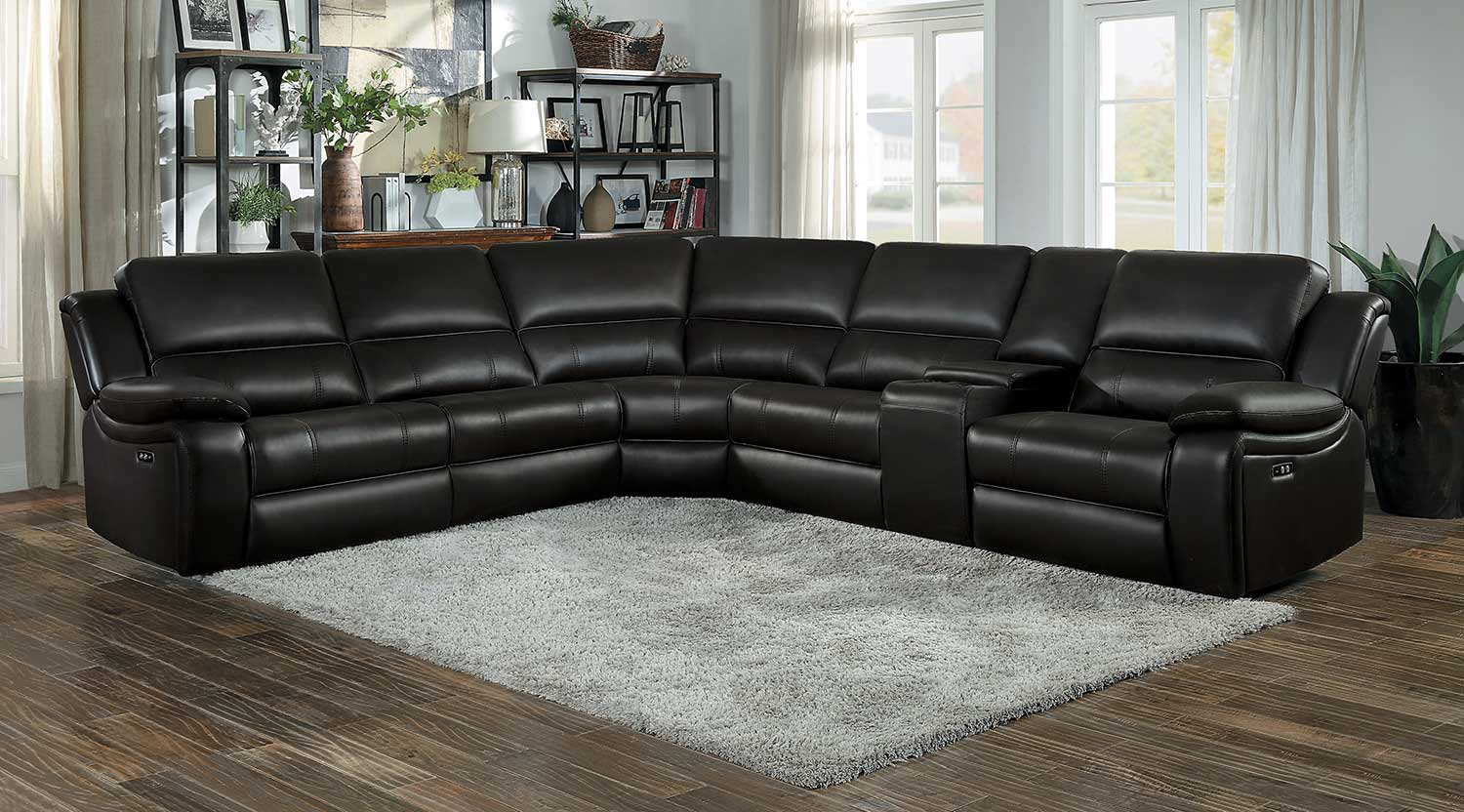 Homelegance Falun Power Reclining Sectional Sofa Set - Dark Brown