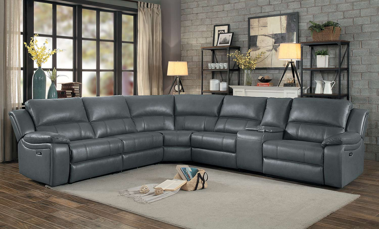 Homelegance Falun Power Reclining Sectional Sofa Set - Gray
