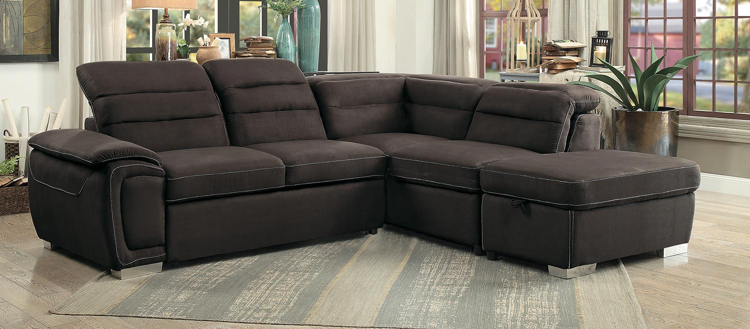 Homelegance Platina Sectional With Pull-Out Bed And Storage Ottoman - Chocolate