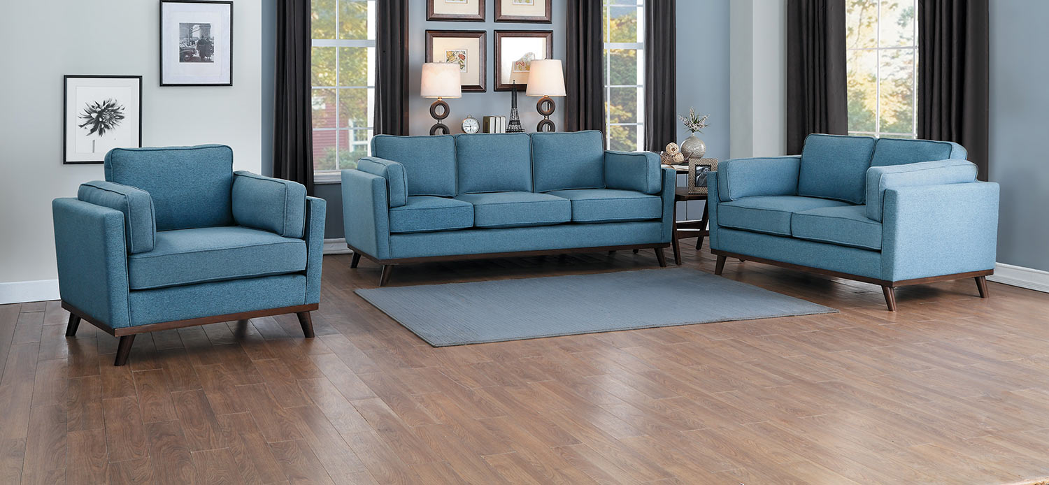 Homelegance Bedos Sofa Set - Blue
