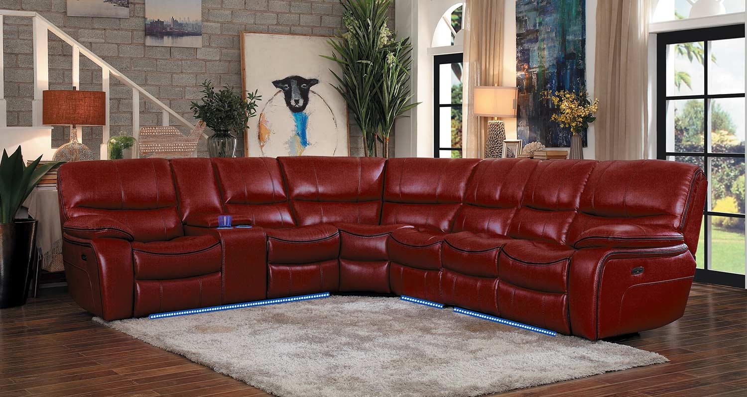 Homelegance Pecos Power Sectional Sofa Set - Red