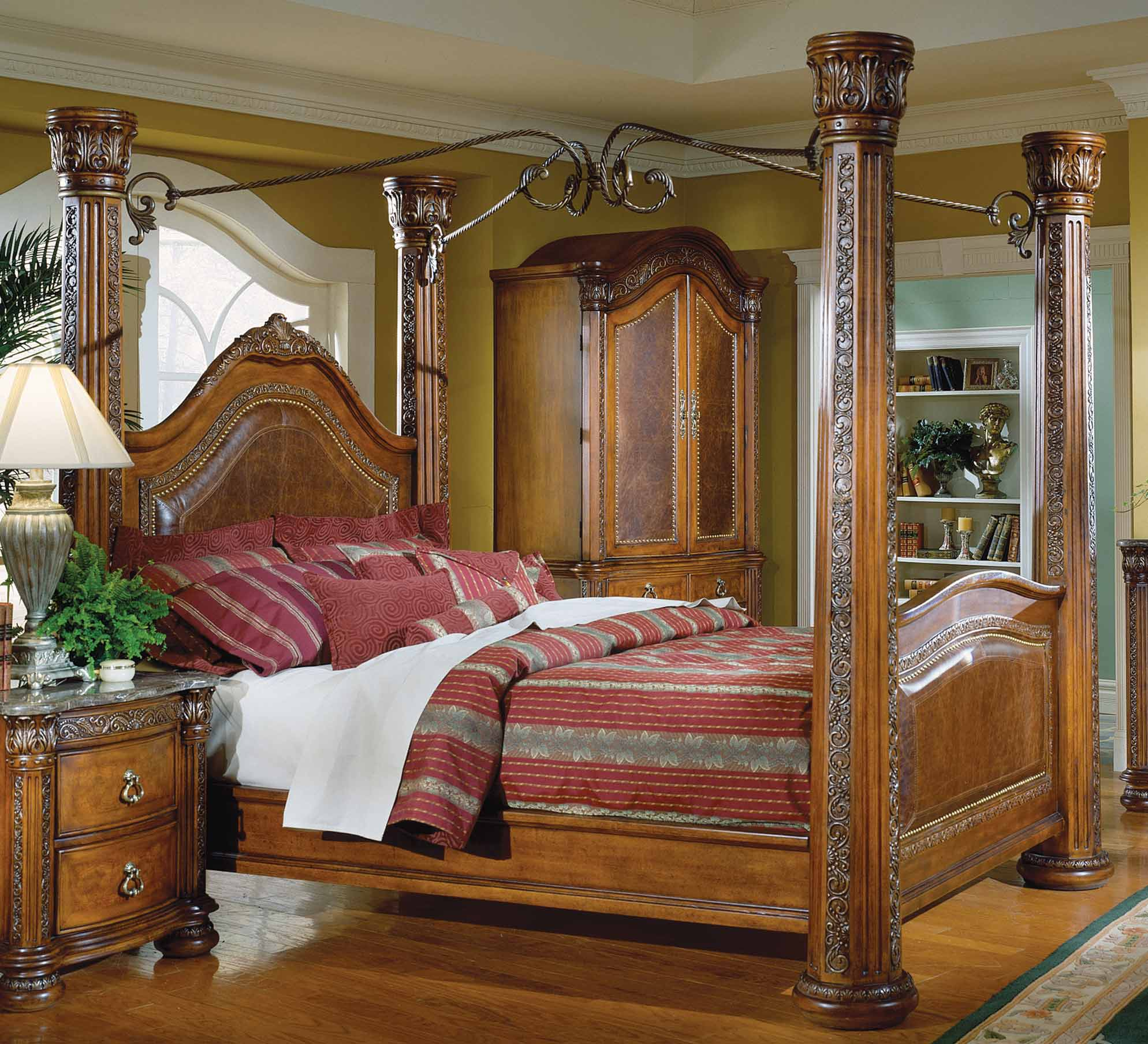 Homelegance spanish hills canopy bed with leather 851 1 for Furniture in spanish