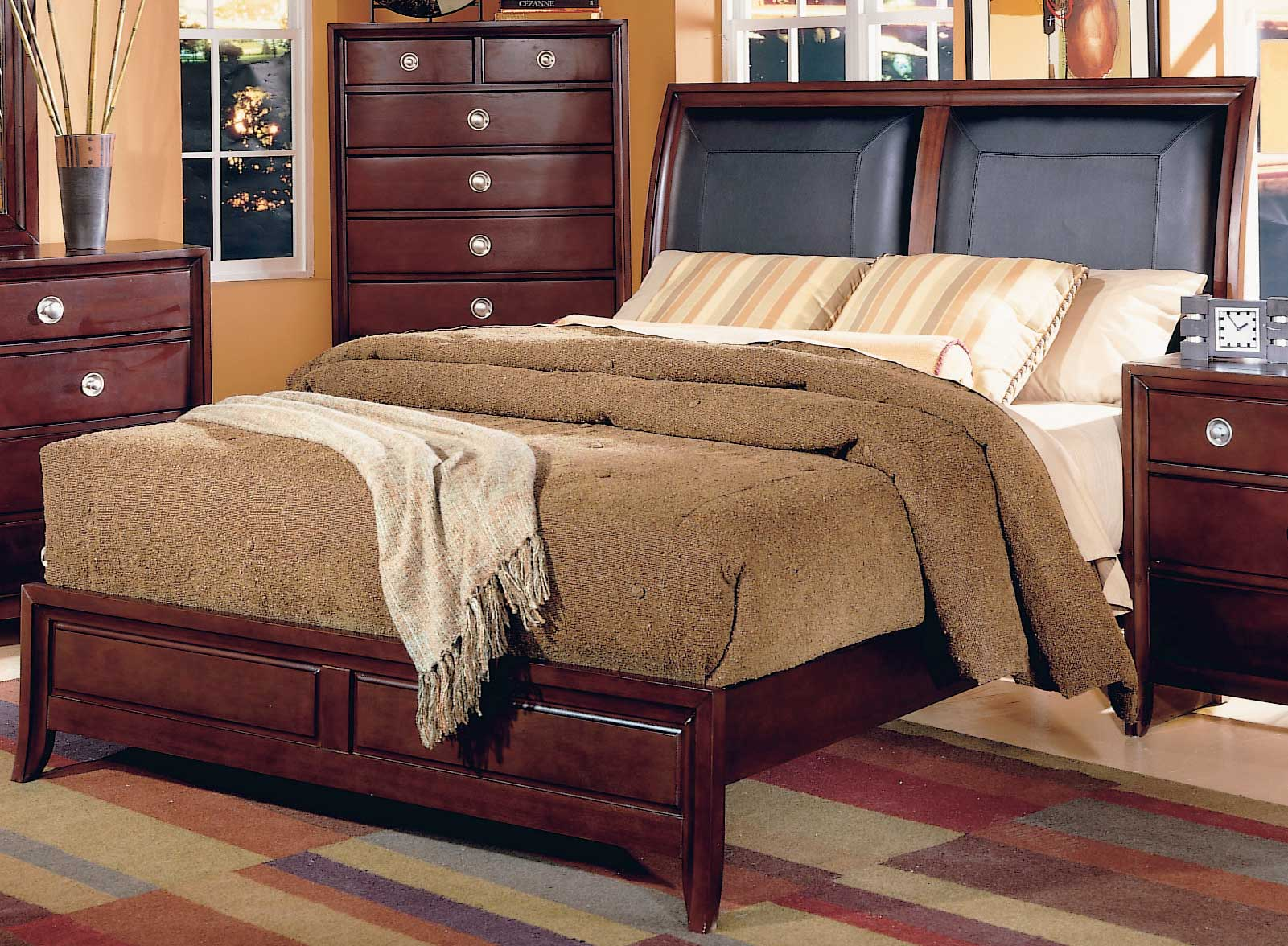 Bed headboard leather - Homelegance Capria Sleigh Bed Leather Headboard 878ll 1