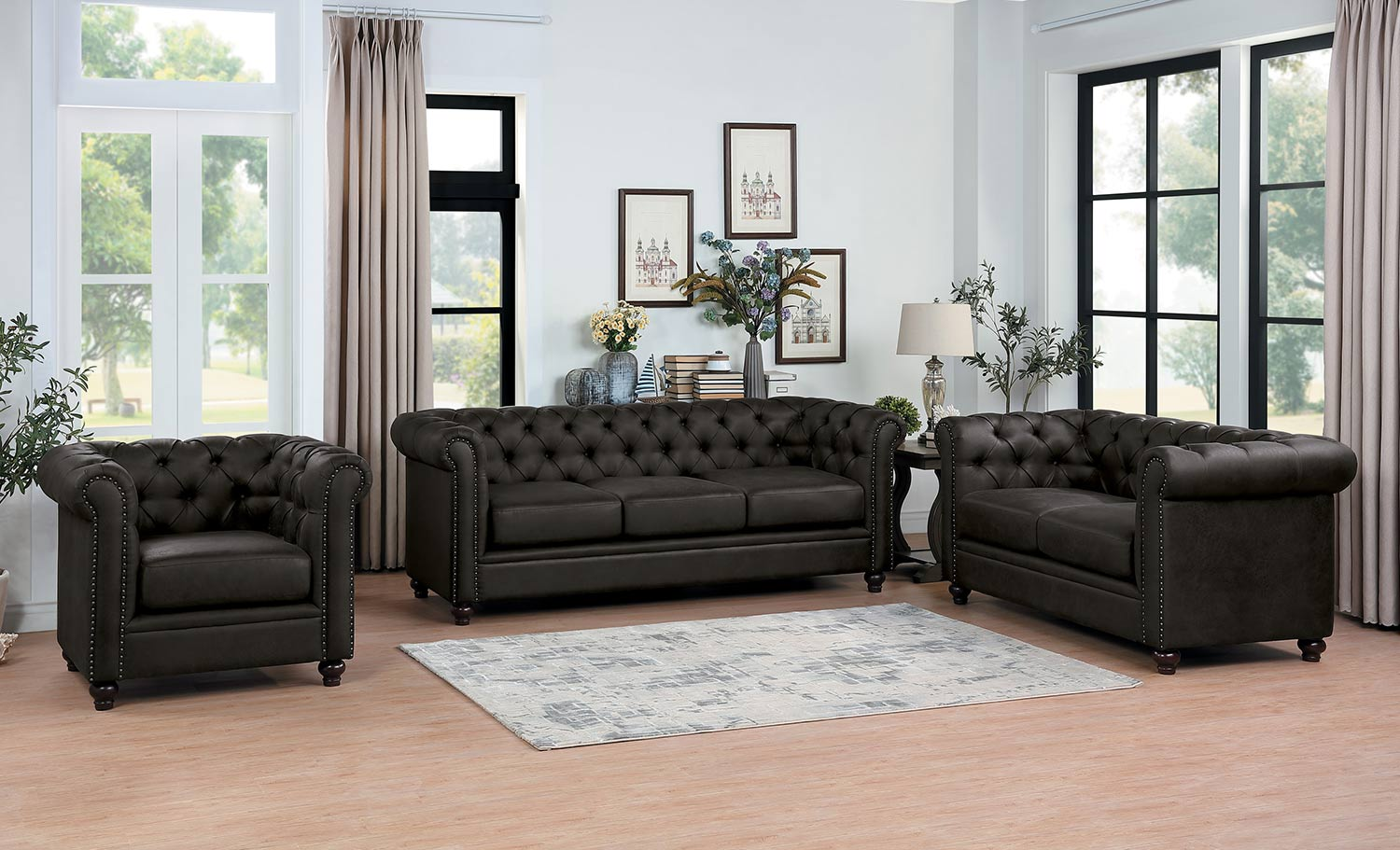 Homelegance Wallstone Sofa Set - Brown