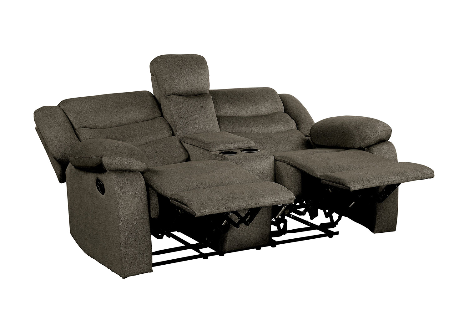 Homelegance Discus Double Reclining Love Seat with Center Console - Brown