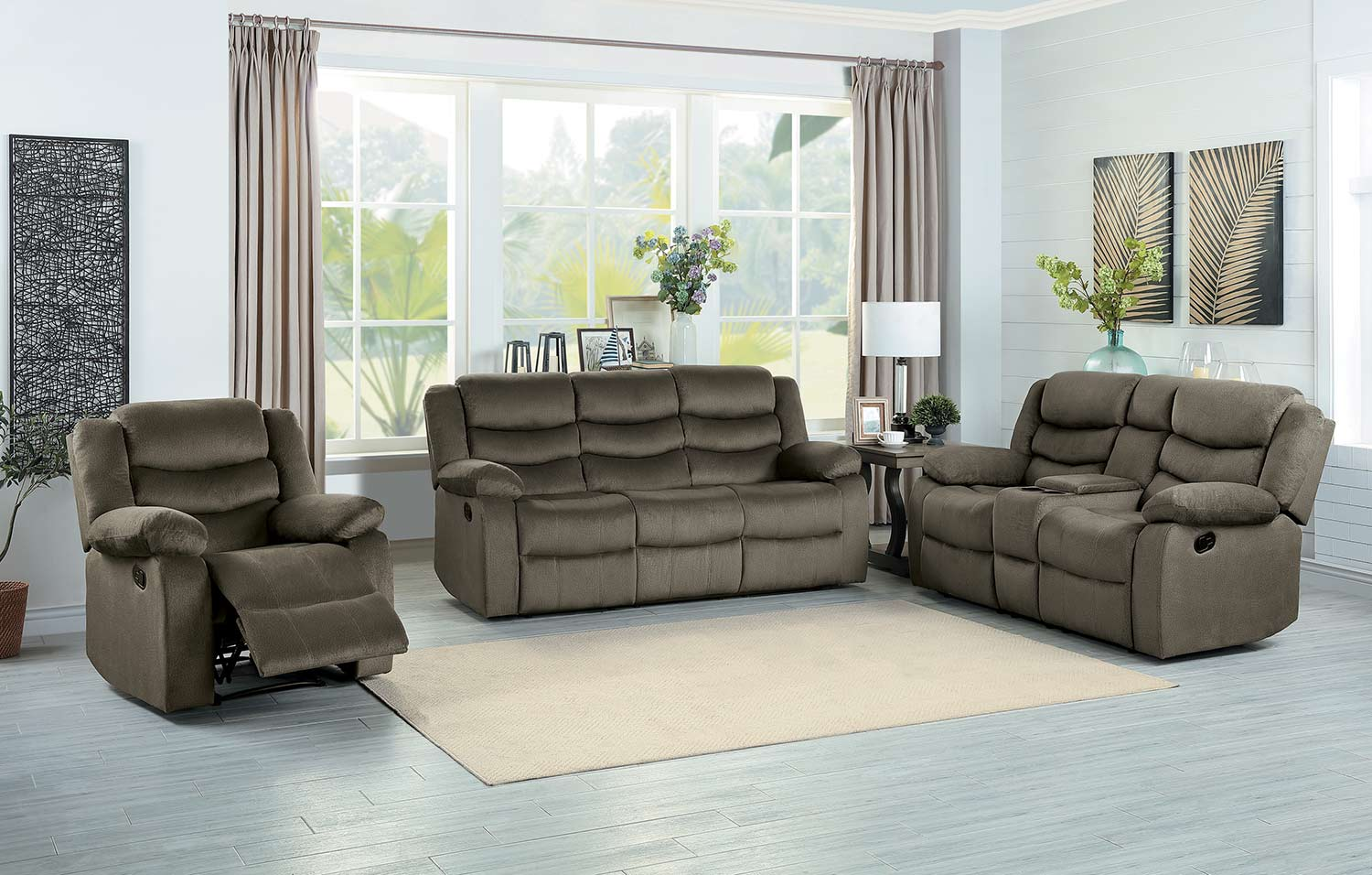 Homelegance Discus Reclining Sofa Set - Brown