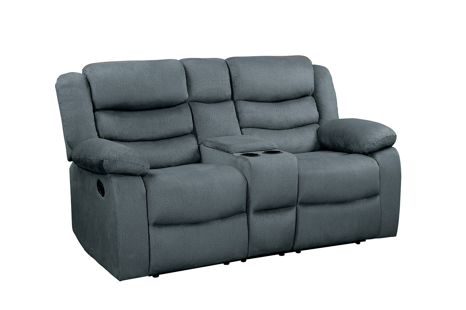 Homelegance Discus Double Reclining Love Seat with Center Console - Gray
