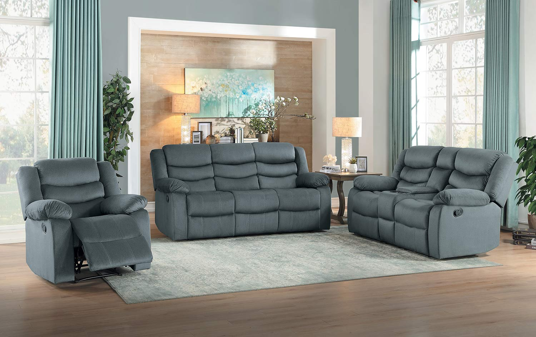 Homelegance Discus Reclining Sofa Set - Gray