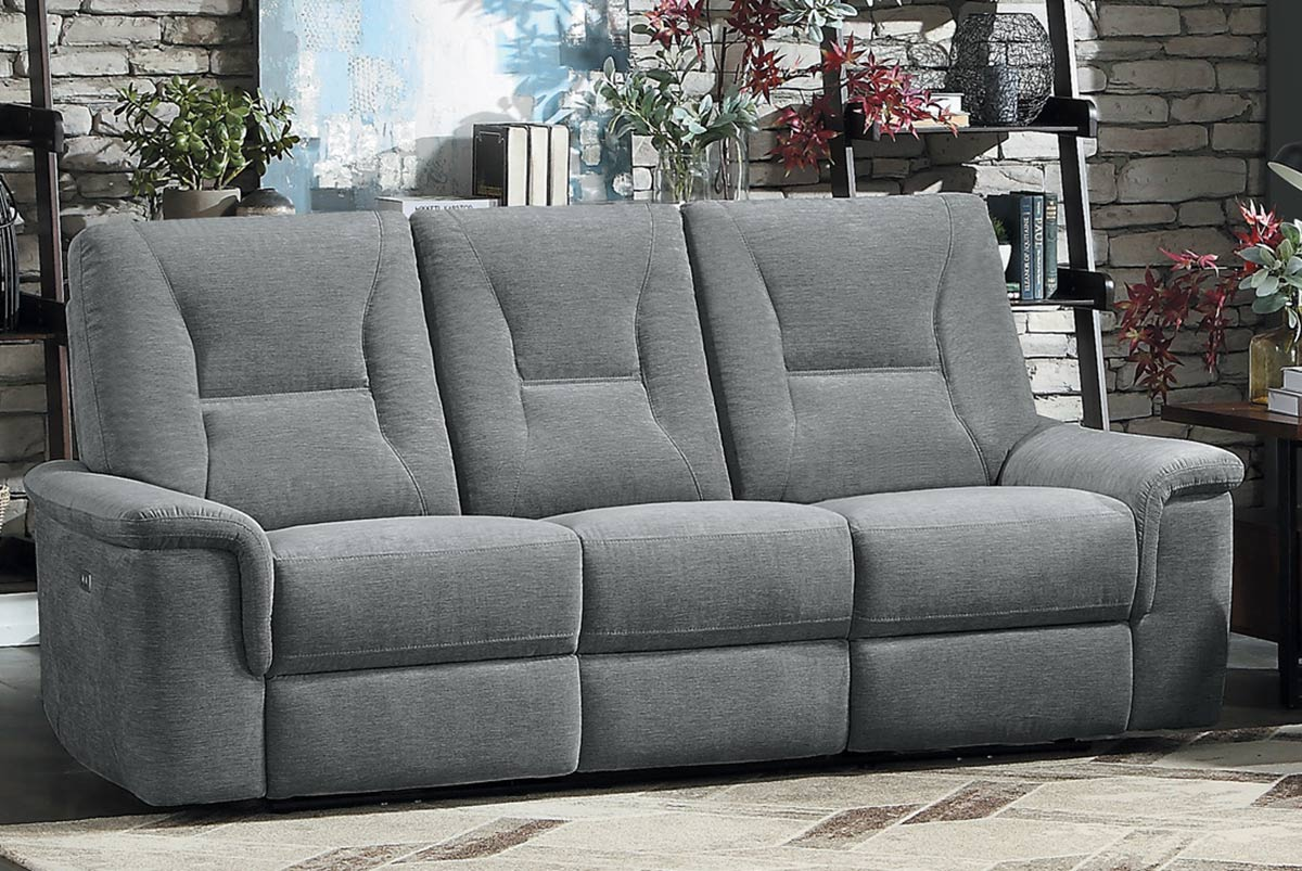 Homelegance Edelweiss Power Double Reclining Sofa - Metal gray