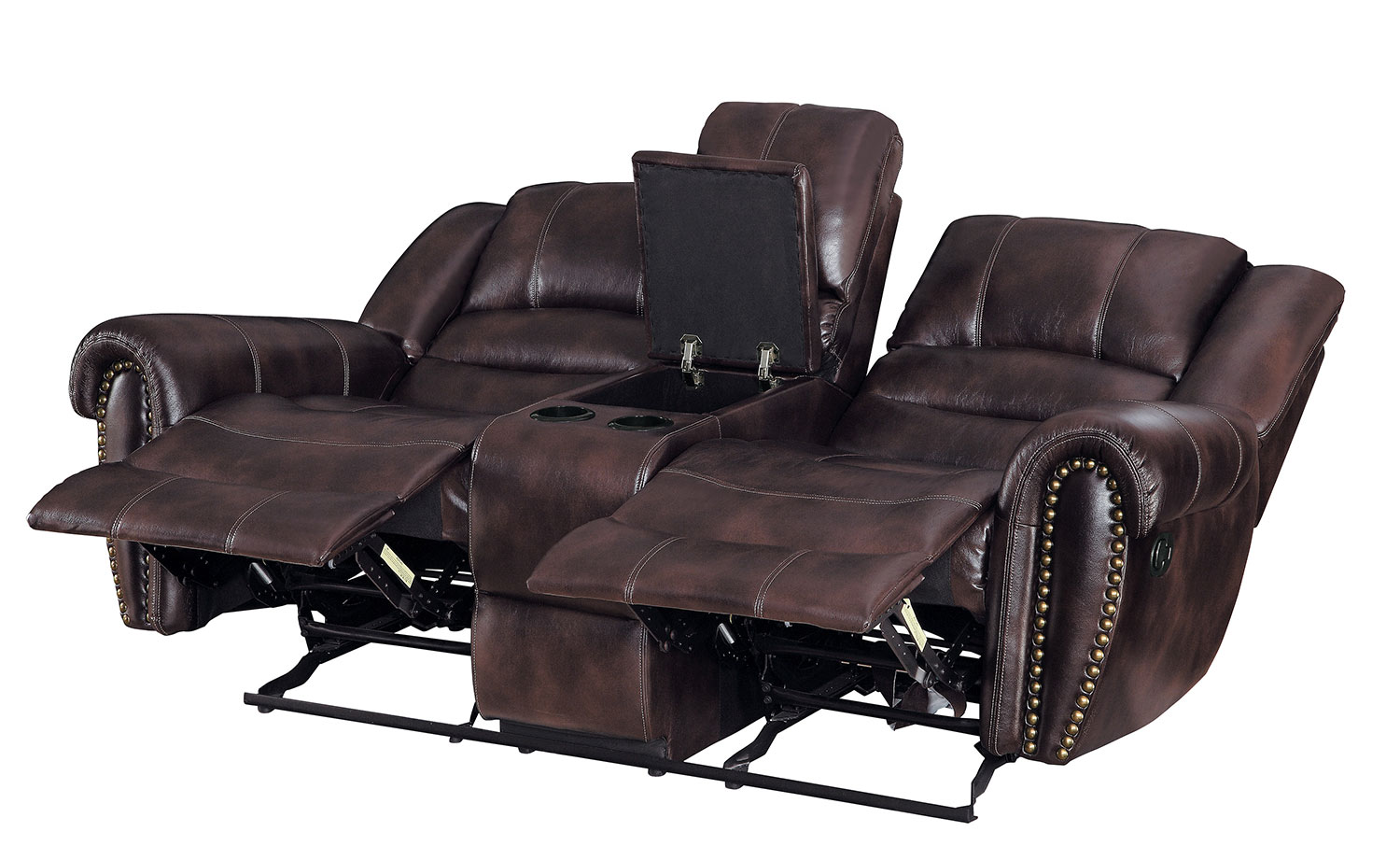 Homelegance Center Hill Double Glider Reclining Love Seat With Center Console - Dark Brown