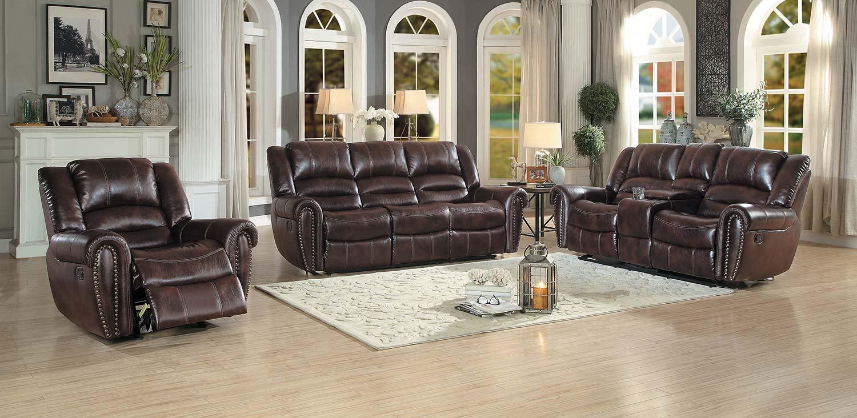 Homelegance Center Hill Reclining Sofa Set - Dark Brown