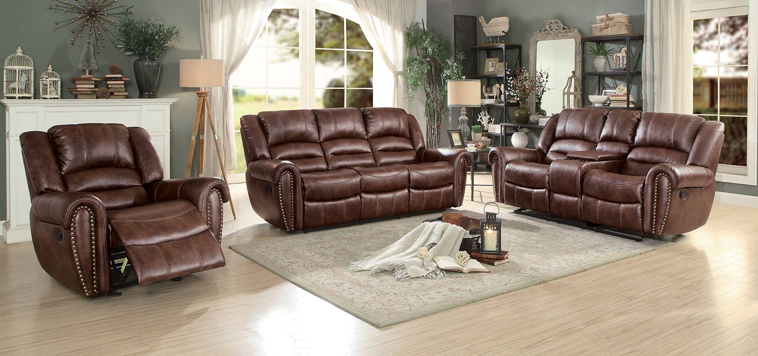 Homelegance Center Hill Reclining Sectional Set - Dark Brown