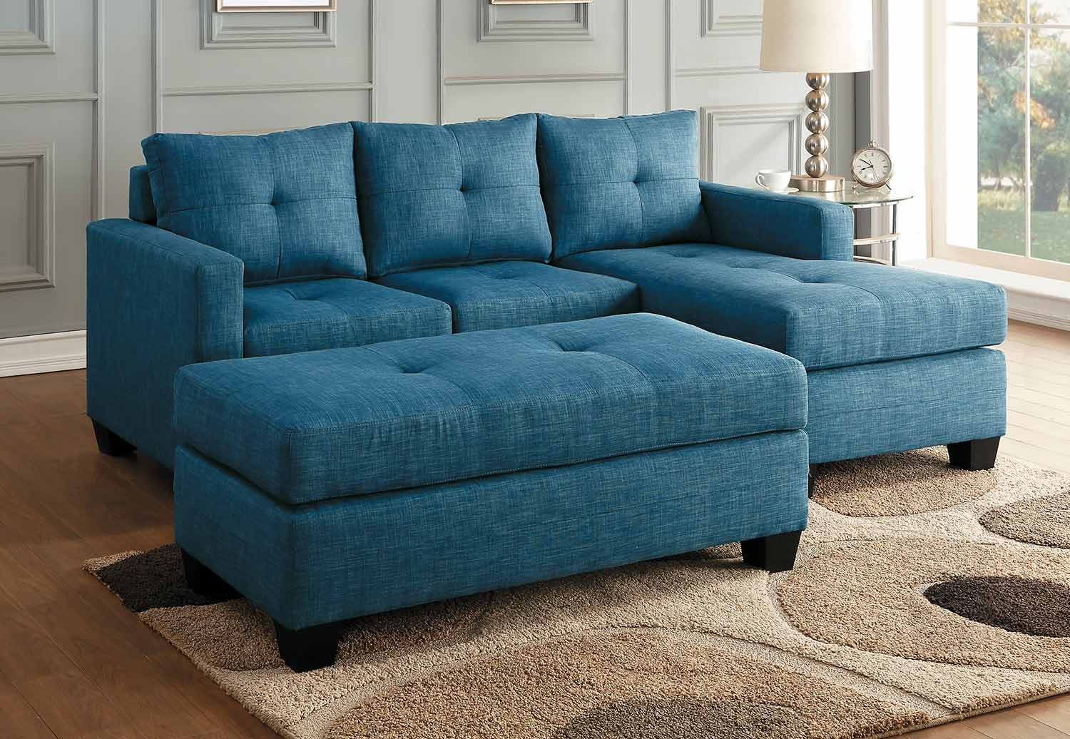 Homelegance Phelps Sectional Sofa Set - Blue