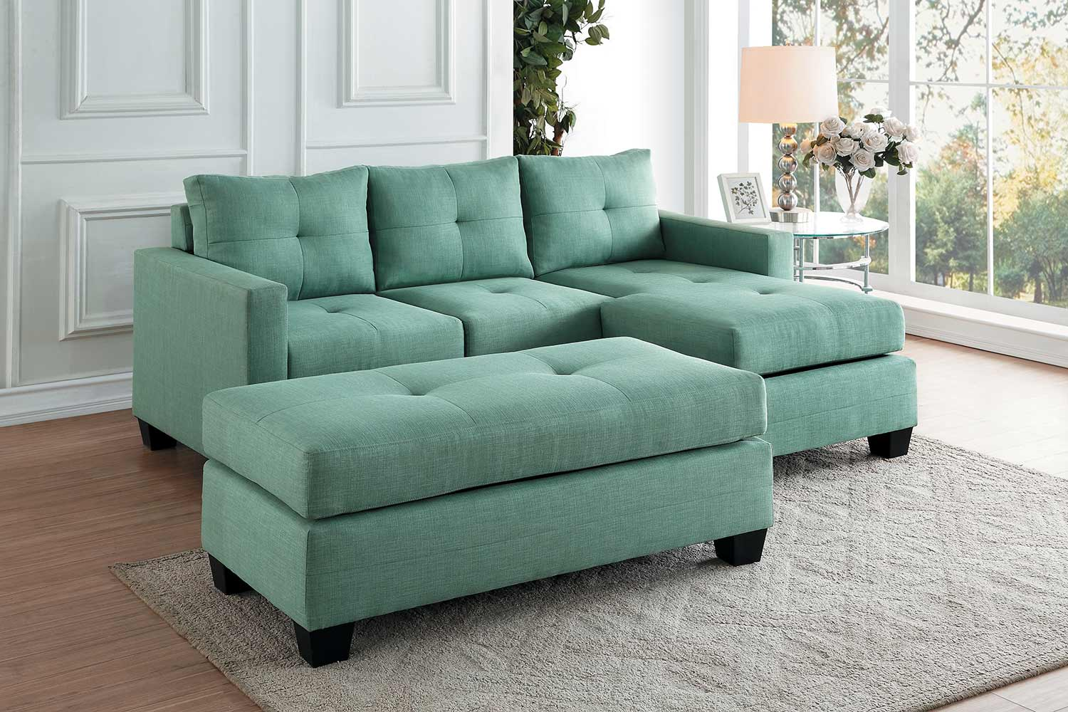 Homelegance Phelps Sectional Sofa Set - Teal