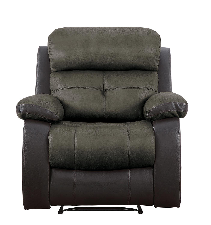 Homelegance Acadia Reclining Chair - Brown microfiber and bi-cast vinyl