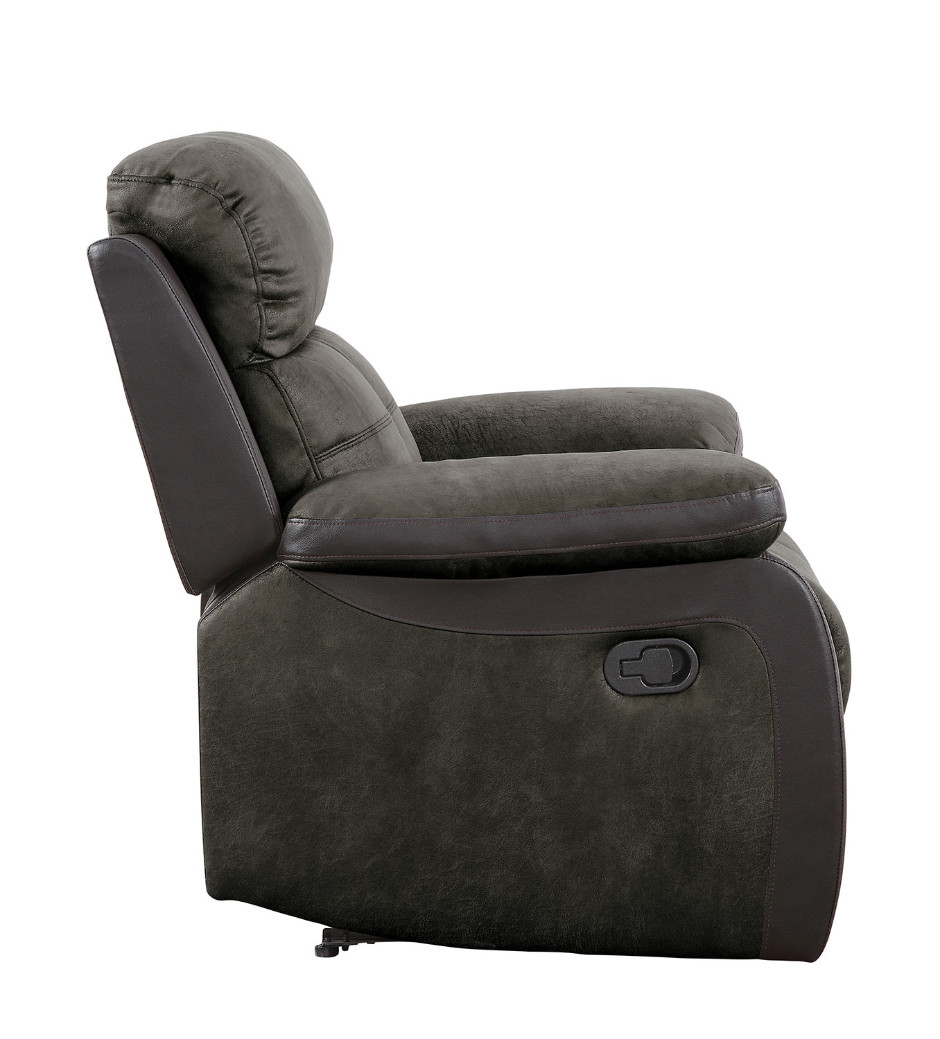 Homelegance Acadia Reclining Chair - Brown microfiber and bi-cast vinyl