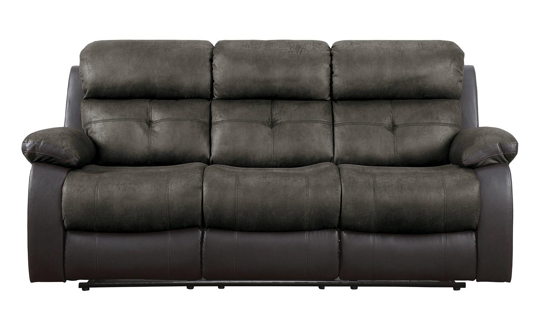 Homelegance Acadia Double Reclining Sofa - Brown microfiber and bi-cast vinyl