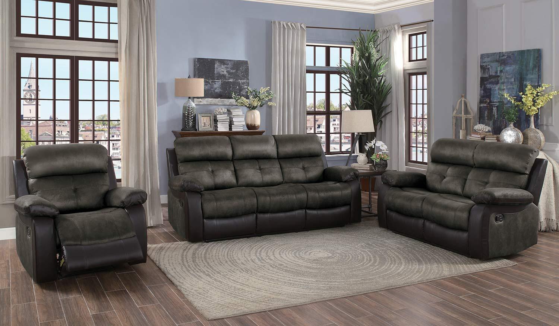Homelegance Acadia Reclining Sofa Set - Brown microfiber and bi-cast vinyl
