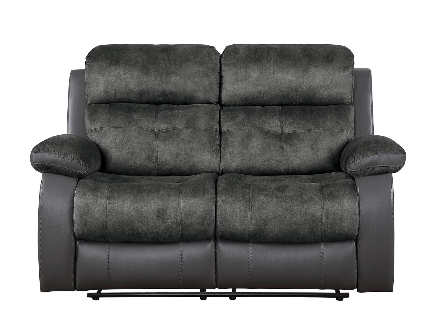 Homelegance Acadia Double Reclining Love Seat - Gray microfiber and bi-cast vinyl