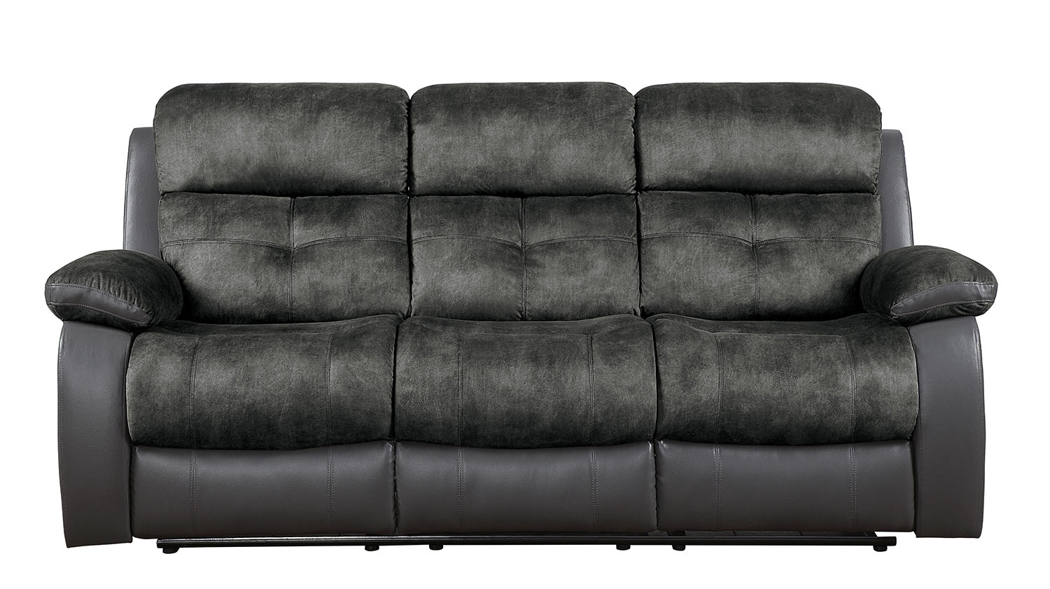 Homelegance Acadia Double Reclining Sofa - Gray microfiber and bi-cast vinyl