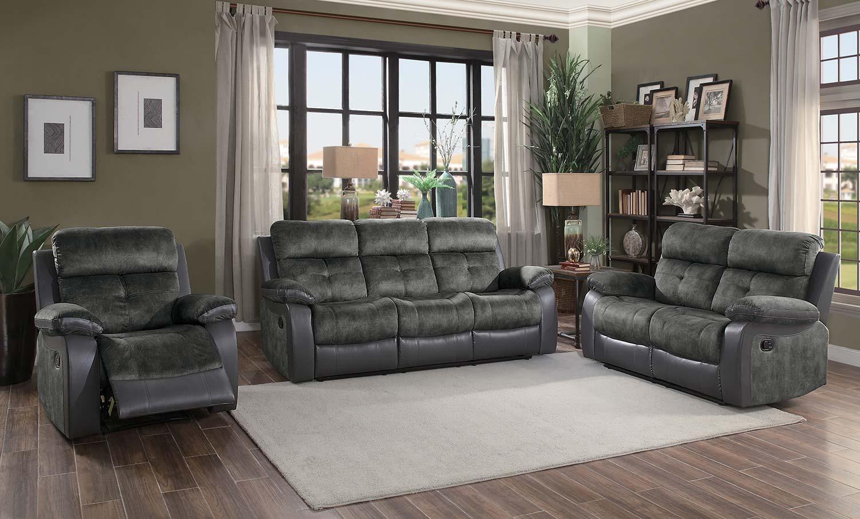 Homelegance Acadia Reclining Sofa Set - Gray microfiber and bi-cast vinyl