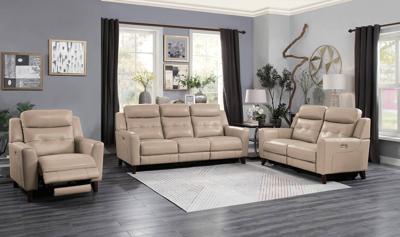 Homelegance Wystan Power Reclining Sofa Set - Beige