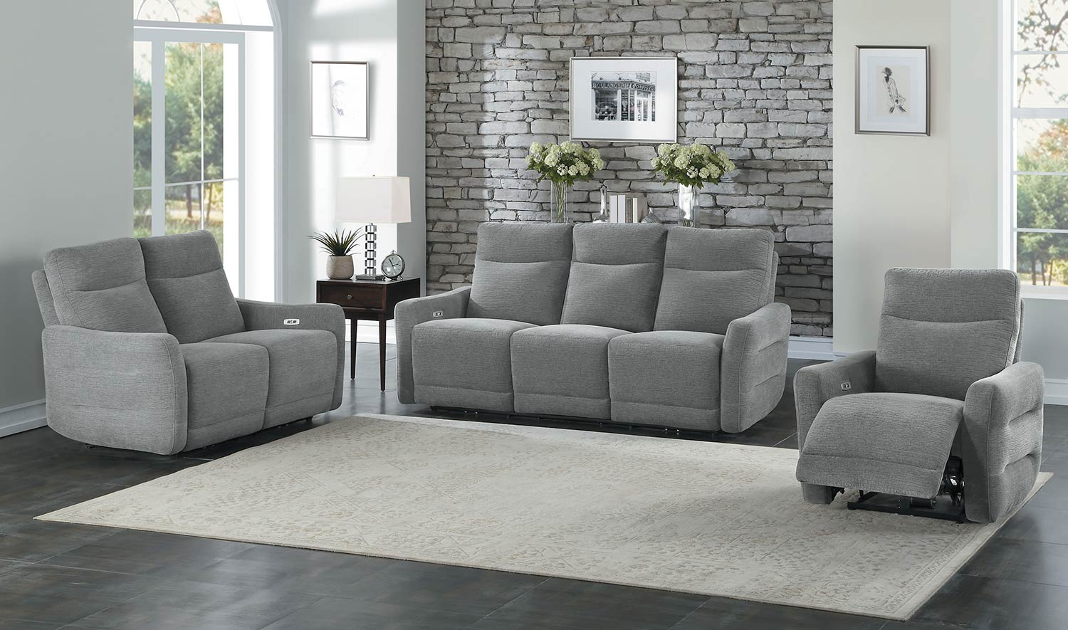 Homelegance Edition Power Reclining Sofa Set - Dove