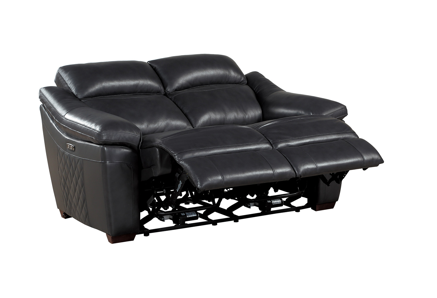 Homelegance Renzo Power Double Reclining Love Seat - Dark Gray