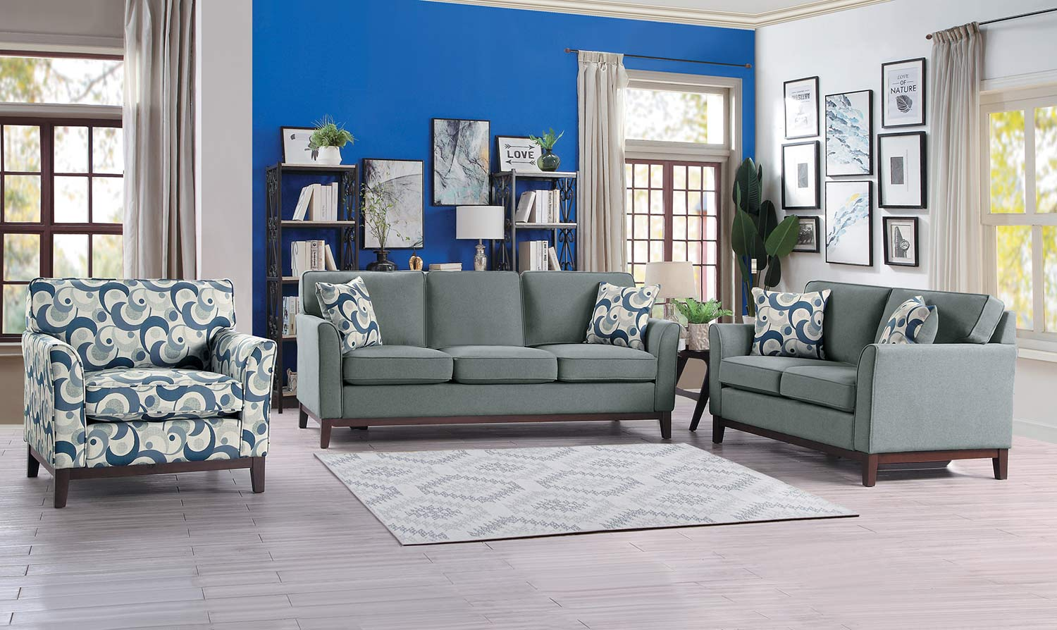 Homelegance Blue Lake Sofa Set - Gray