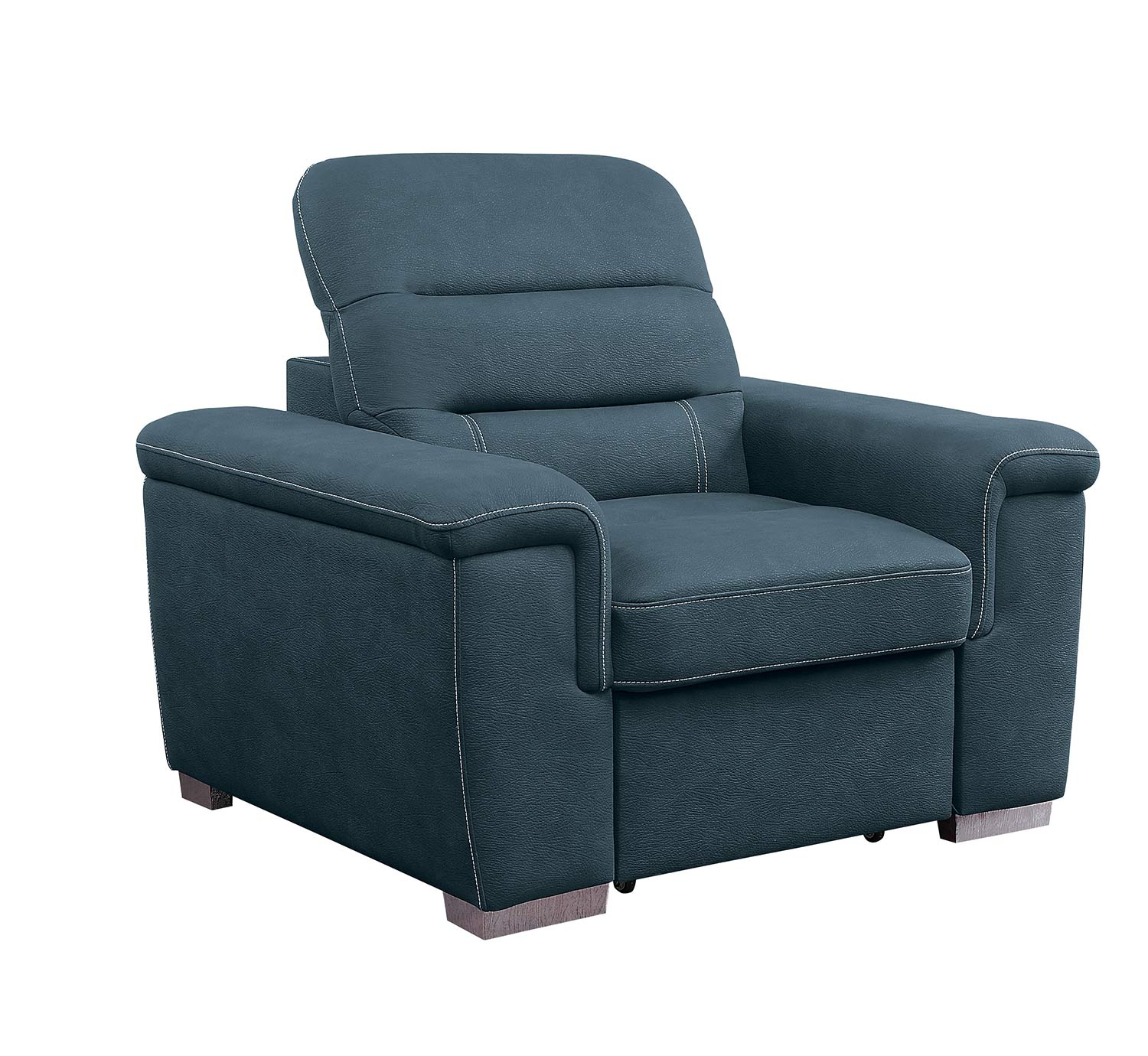 Homelegance Alfio Chair with Pull-out Ottoman - Blue