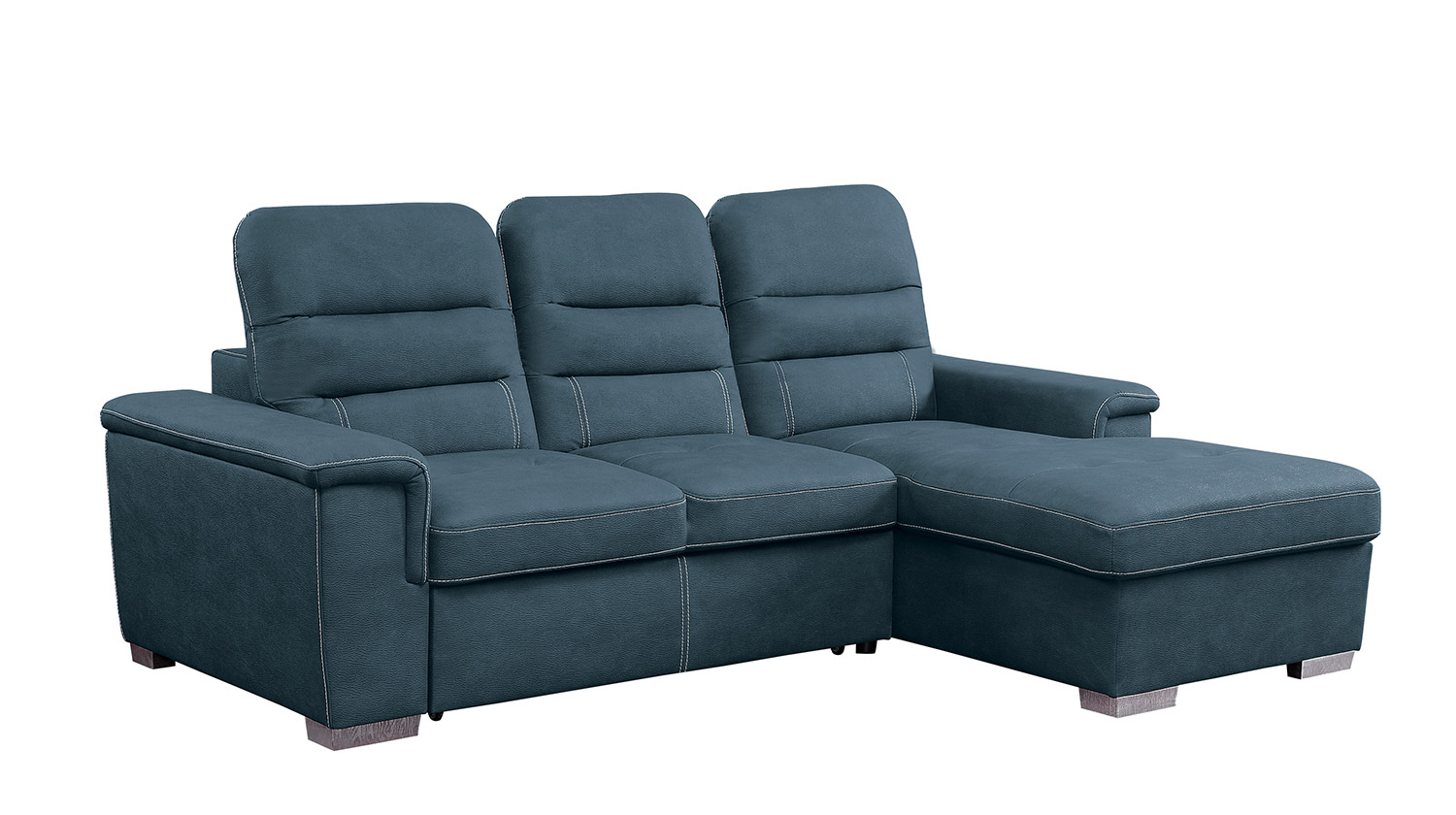 Homelegance Alfio Sectional with Pull-out Bed and Hidden Storage - Blue