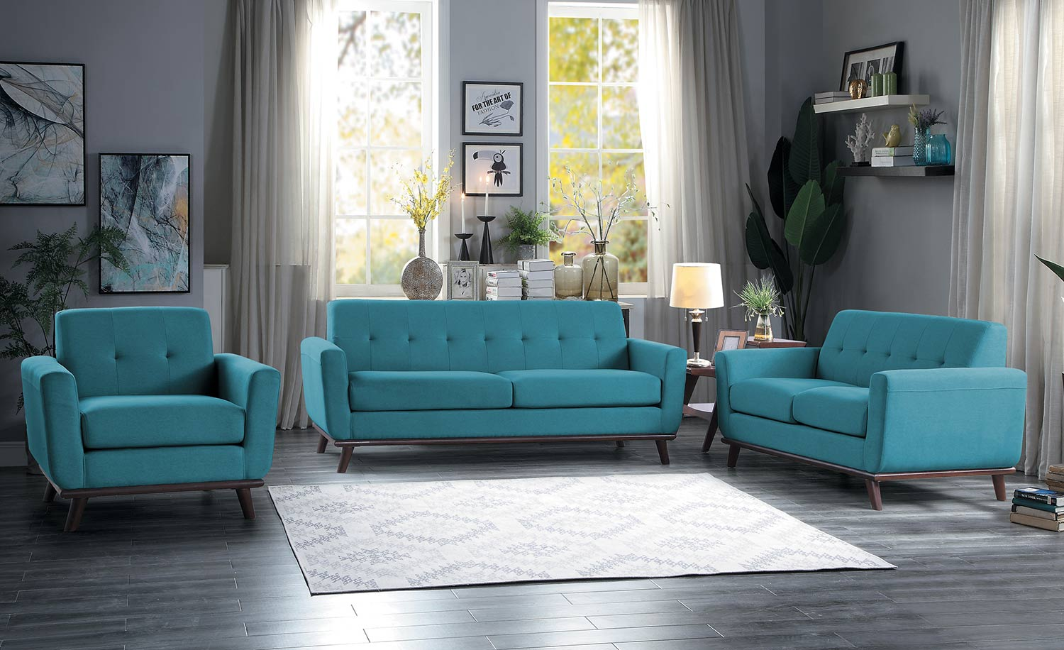 Homelegance Rittman Sofa Set - Blue