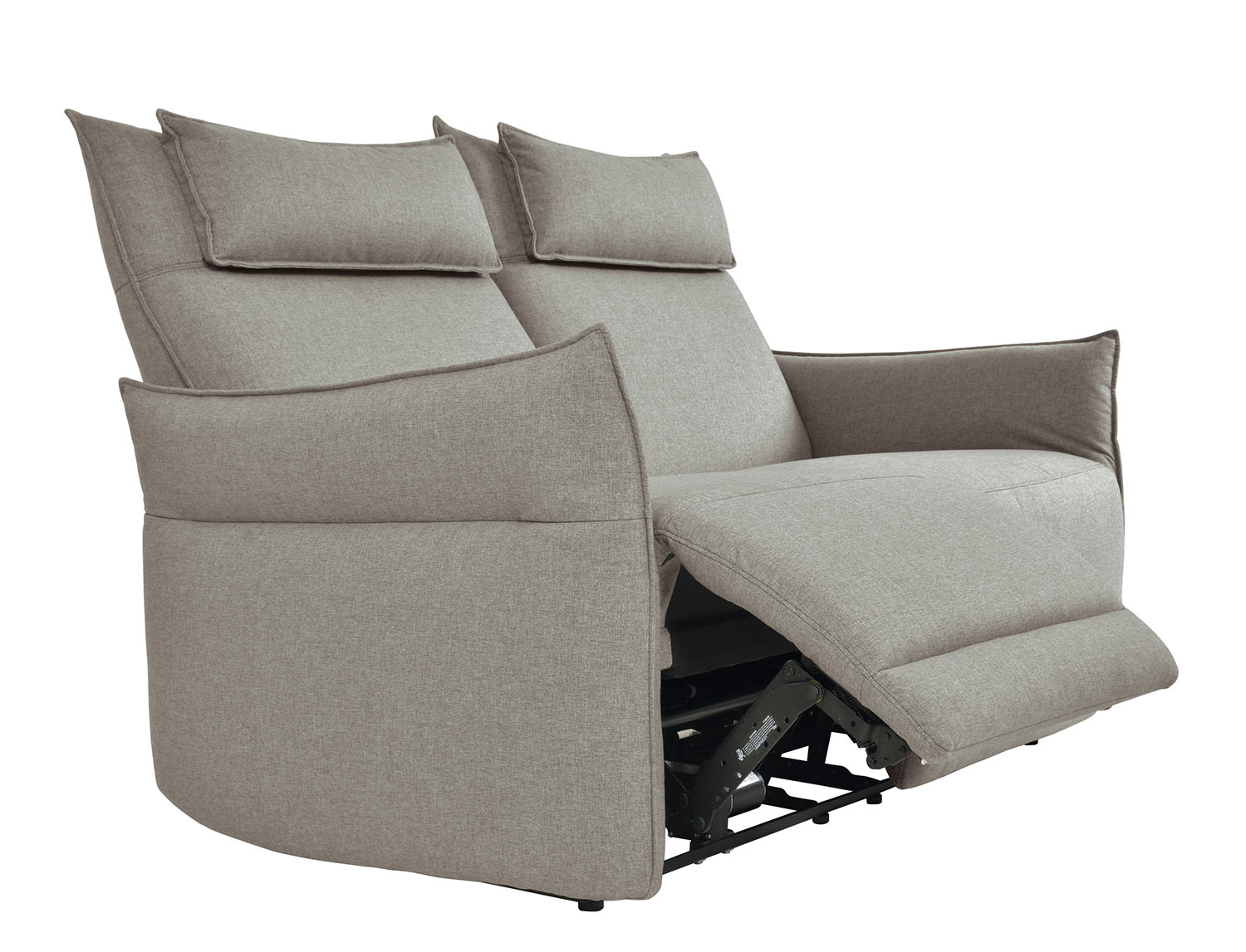 Homelegance Linette Power Double Reclining Love Seat with Power Headrests - Taupe