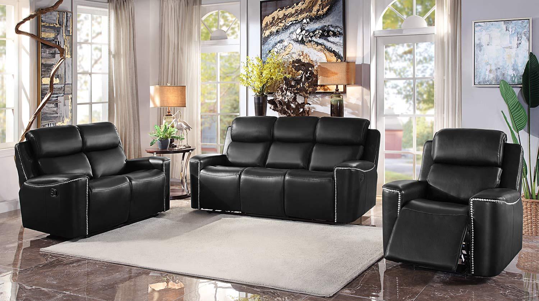 Homelegance Altair Reclining Sofa Set - Black