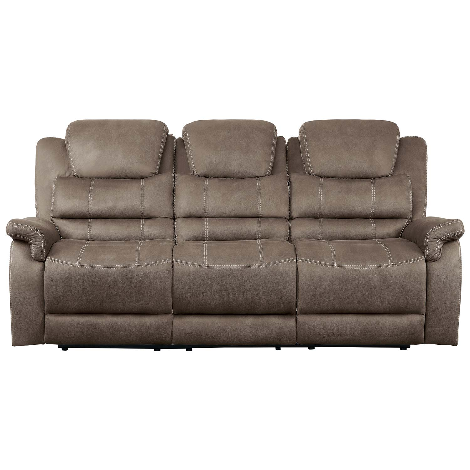 Homelegance Shola Power Double Reclining Sofa with Power Headrests, Drop-Down Cup holders and Receptacles - Brown