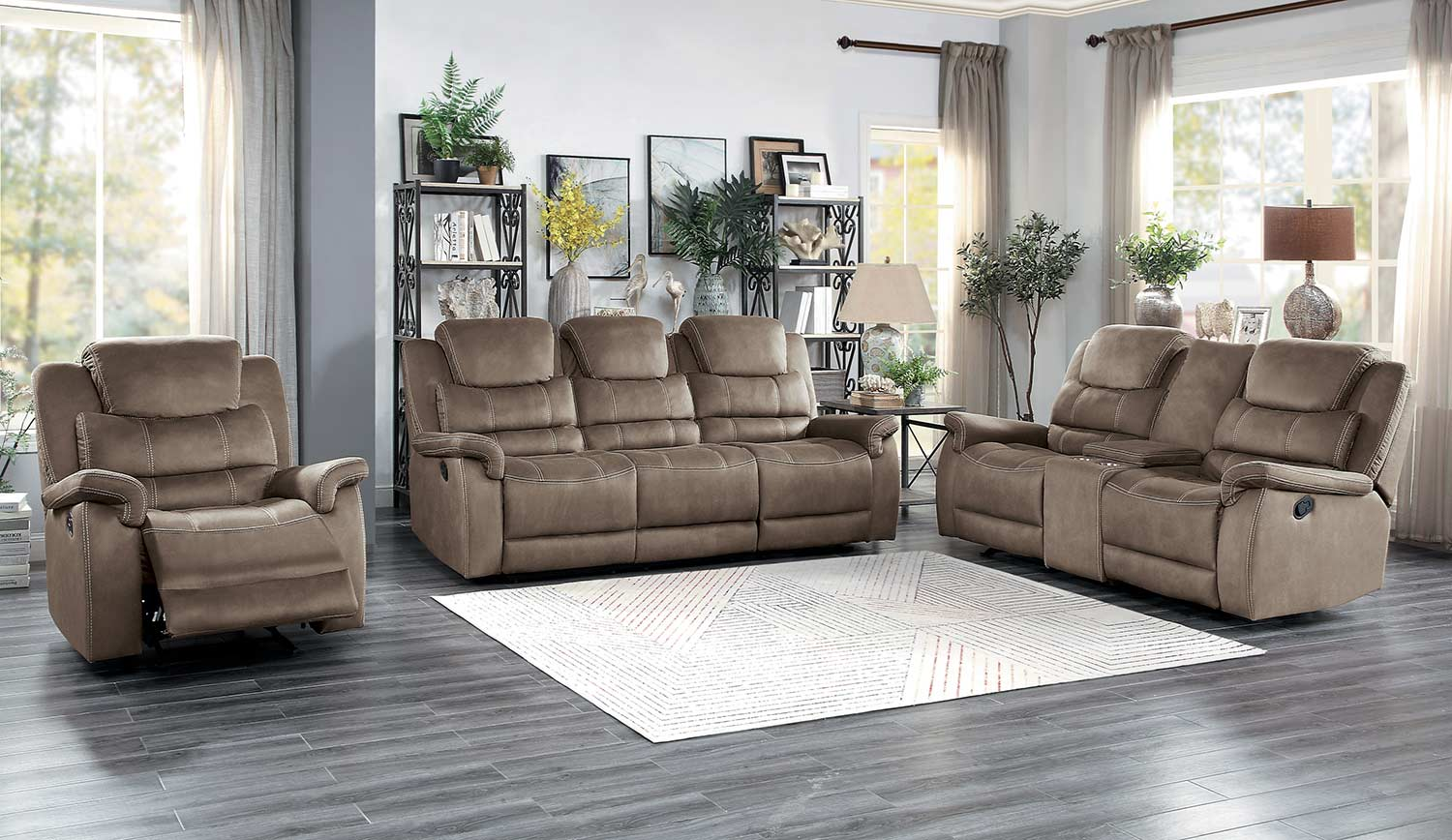 Homelegance Shola Power Reclining Sofa Set - Brown