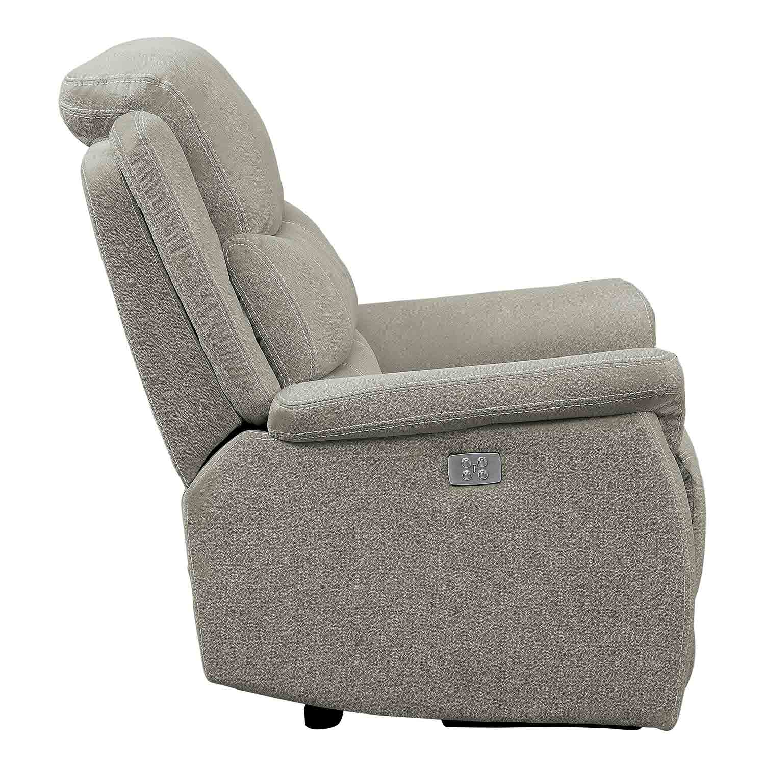Homelegance Shola Power Reclining Chair with Power Headrest - Gray