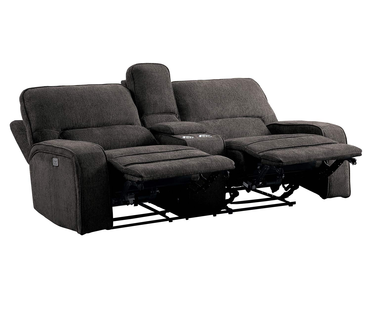 Homelegance Borneo Power Double Reclining Love Seat with Center Console and Power Headrests - Chocolate