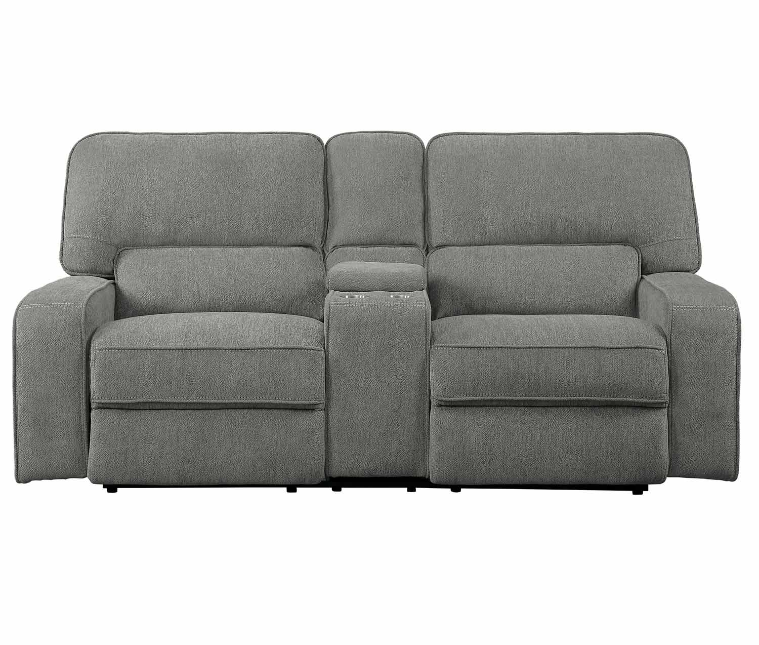 Homelegance Borneo Double Reclining Love Seat with Center Console - Mocha