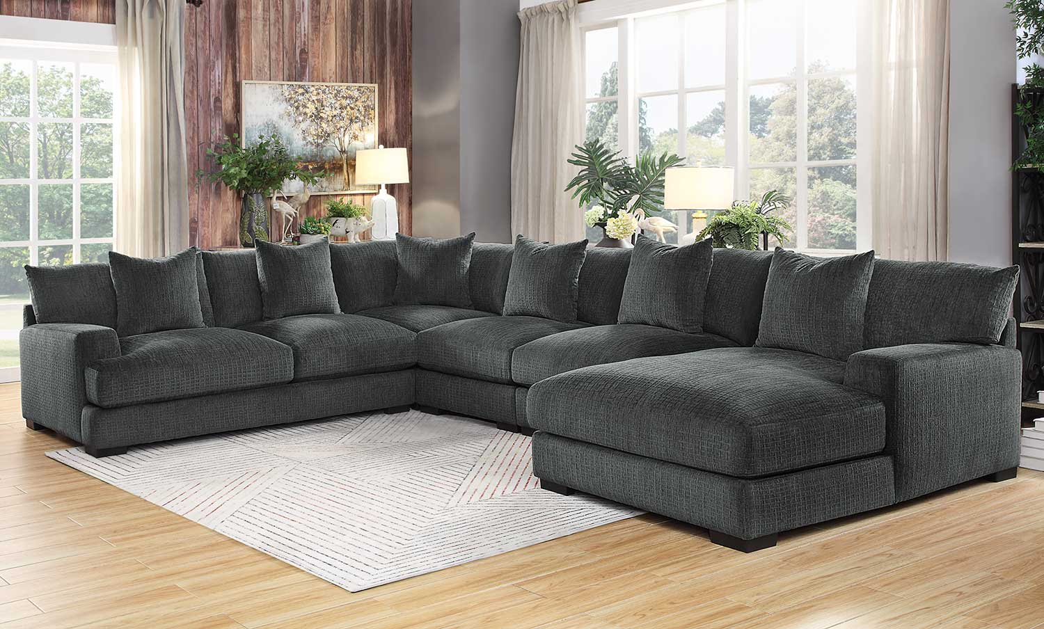 Homelegance Worchester Sectional Sofa Set - Dark gray
