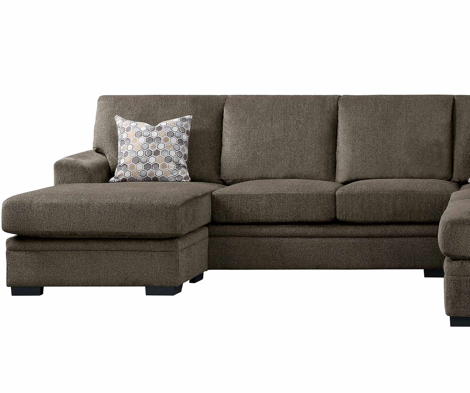 Homelegance Maddy Left Side 3-Seater with Reversible Sofa Chaise - Brown