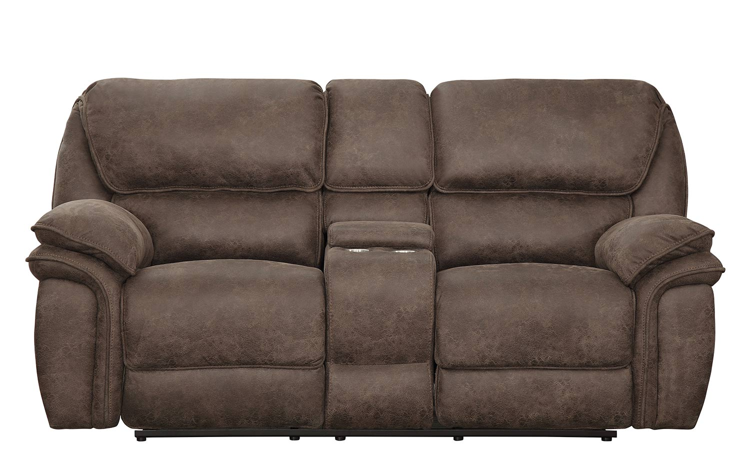 Homelegance Hadden Power Double Reclining Love Seat With Center Console - Dark Brown