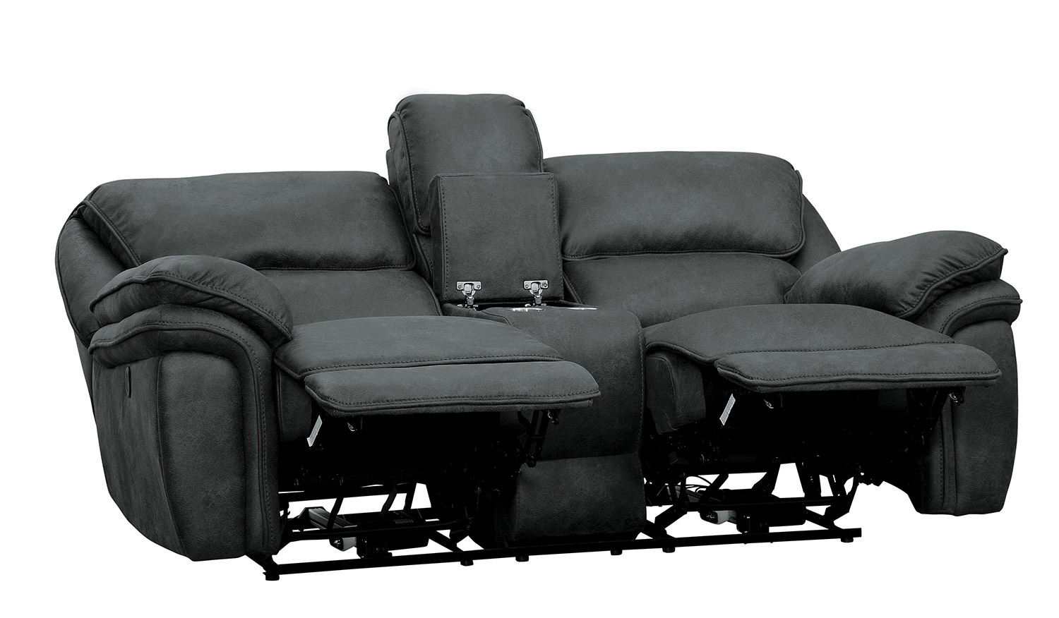 Homelegance Hadden Double Reclining Love Seat With Center Console - Gray