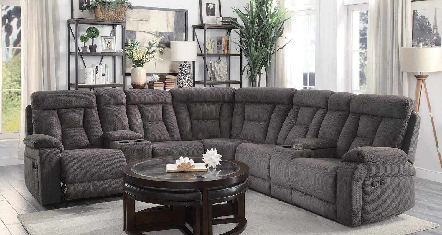 Homelegance Rosnay Reclining Sectional Sofa - Chocolate